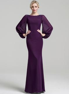 Trompete/Meerjungfrau-Linie U-Ausschnitt Bodenlang Chiffon Kleid für die Brautmutter mit Perlstickerei Pailletten (008091951)