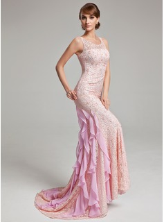 Trumpet/Mermaid Scoop Neck Sweep Train Chiffon Tulle Evening Dress With Lace Beading Cascading Ruffles (017017526)