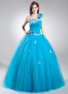 Duchesse-Linie Eine Schulter Bodenlang Tüll Quinceañera Kleid (Kleid für die Geburtstagsfeier) mit Perlstickerei Applikationen Spitze Blumen Pailletten (021016037)