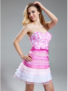 Robe de Bal de Promo Ligne-A/Princesse Cur Court/Mini Organza Robe de Bal de Promo avec Brod Fleurs (018018854)
