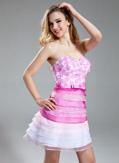 Forme Princesse Bustier en coeur Court/Mini Organza Robe bal d'étudiant avec Emperler Fleur(s) (018018854)