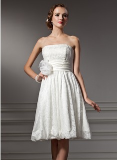 A-Line/Princess Strapless Knee-Length Satin Lace Wedding Dress With Flower(s) (002004004)