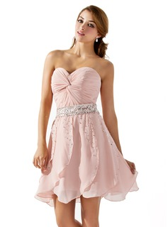 A-Line/Princess Sweetheart Short/Mini Chiffon Homecoming Dress With Ruffle Beading Sequins (022008142)