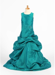 Princess Taffeta Girl Dress With Ruffle/Beading (010007474)