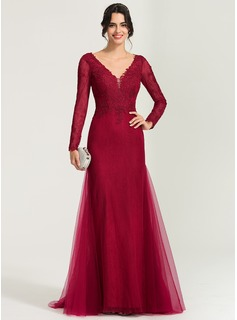 Trumpet/Mermaid V-neck Sweep Train Tulle Evening Dress (017167713)