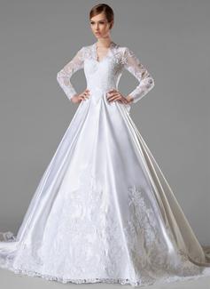 Forme Marquise Col V Traîne mi-longue Satiné Robe de mariée avec Plissé Motifs appliqués Dentelle À ruban(s) (002004745)