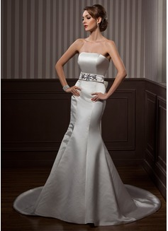 Trumpet/Mermaid Strapless Court Train Satin Wedding Dress With Sash Beading Bow(s) (002001174)