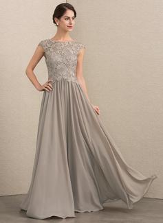 A-Linie U-Ausschnitt Bodenlang Chiffon Spitze Kleid für die Brautmutter (008164062)
