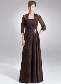 Etui-Linie Trägerlos Bodenlang Taft Spitze Kleid für die Brautmutter mit Rüschen Perlen verziert (008006192)
