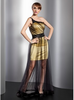 Robe de Bal de Promo Gaine Une epaule Longeur au sol Satin Tulle Robe de Bal de Promo avec Brod (018014748)