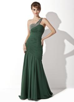 Trompete/Meerjungfrau-Linie One-Shoulder-Träger Sweep/Pinsel zug Chiffon Kleid für die Brautmutter mit Rüschen Perlen verziert (008025929)