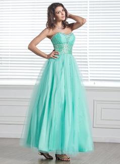 A-Linie/Princess-Linie Herzausschnitt Knöchellang Tüll Festliche Kleid mit Perlen verziert (020026034)