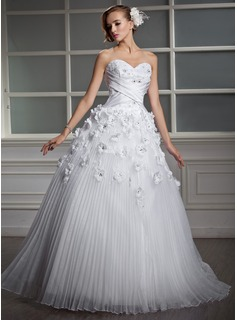 Ball-Gown Sweetheart Floor-Length Organza Satin Wedding Dress With Lace Beading Flower(s) (002006700)