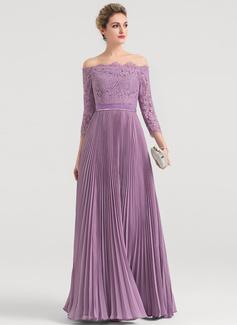 A-Linie/Princess-Linie Off-the-Schulter Bodenlang Chiffon Abendkleid mit Gefaltet (017147953)