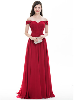 A-Linie/Princess-Linie Off-the-Schulter Sweep/Pinsel zug Chiffon Abiballkleid mit Rüschen (018105700)