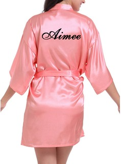 Personalized Bride Bridesmaid Charmeuse With Short Personalized Robes (248188902)