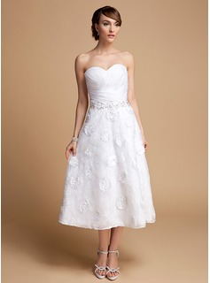 A-Line/Princess Sweetheart Tea-Length Organza Lace Wedding Dress With Ruffle Beading Flower(s) Sequins (002014714)