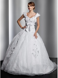 Ball-Gown V-neck Court Train Organza Satin Wedding Dress With Lace Beading Flower(s) Bow(s) (002014812)