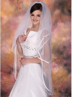 Two-tier Fingertip Bridal Veils With Ribbon Edge (006003747)