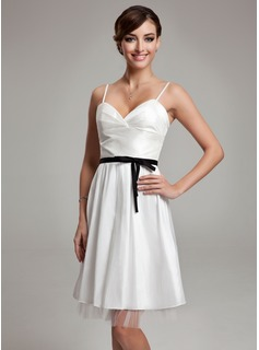 A-Line/Princess Sweetheart Knee-Length Taffeta Tulle Wedding Dress With Ruffle Sash Bow(s) (002001338)