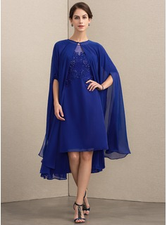 Sheath/Column Scoop Neck Knee-Length Chiffon Lace Mother of the Bride Dress With Beading Sequins (008164093)