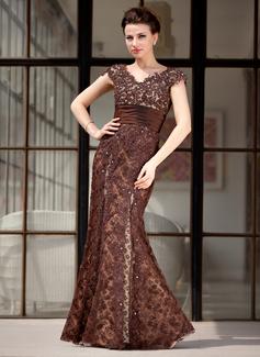 Trompete/Meerjungfrau-Linie V-Ausschnitt Bodenlang Spitze Kleid für die Brautmutter mit Perlstickerei (008018983)