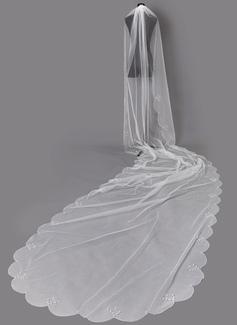 Uno capa Con abalorios Velos de novia capilla con La perla de faux (006203731)