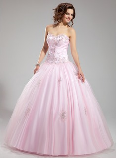 Ball-Gown Sweetheart Floor-Length Satin Tulle Wedding Dress With Ruffle Lace Beading (002012706)