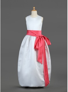 A-Line/Princess Scoop Neck Floor-Length Satin Flower Girl Dress With Sash Bow(s) (010002144)