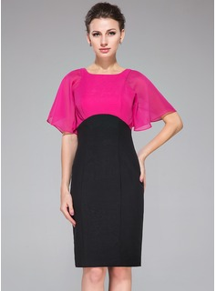 Empire Scoop Neck Knee-Length Chiffon Cocktail Dress (016050343)