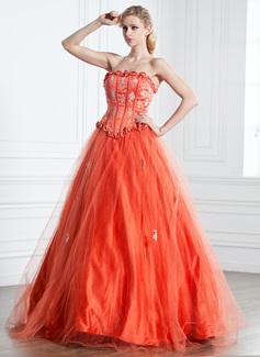 Duchesse-Linie Trägerlos Bodenlang Tüll Quinceañera Kleid (Kleid für die Geburtstagsfeier) mit Rüschen Perlen verziert Applikationen Spitze (021005242)
