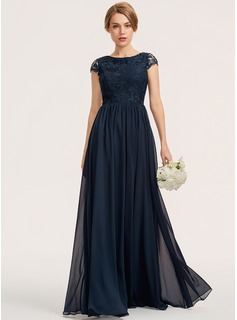 A-Line Scoop Neck Floor-Length Chiffon Lace Bridesmaid Dress (007190717)