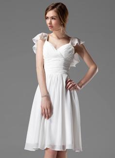A-Linie/Princess-Linie V-Ausschnitt Knielang Chiffon Brautjungfernkleid mit Perlen verziert Gestufte Rüschen (007004117)
