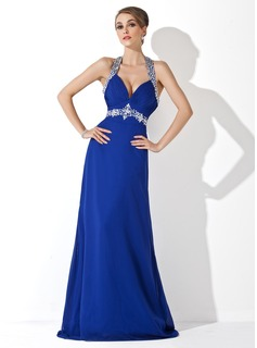 A-Line/Princess Halter Sweep Train Chiffon Holiday Dress With Ruffle Beading (020025952)