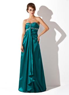 Empire-Linie Herzausschnitt Bodenlang Charmeuse Festliche Kleid mit Rüschen Perlen verziert (020025984)