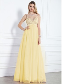 Empire Sweetheart Floor-Length Tulle Evening Dress With Beading Sequins (017013091)