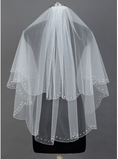 Two-tier Elbow Bridal Veils With Pearl Trim Edge (006034480)