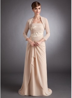 A-Line/Princess Strapless Sweep Train Chiffon Charmeuse Mother of the Bride Dress With Ruffle Lace Beading (008005623)