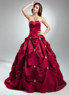 Duchesse-Linie Herzausschnitt Kapelle-schleppe Satin Quinceañera Kleid (Kleid für die Geburtstagsfeier) mit Perlen verziert (021015583)