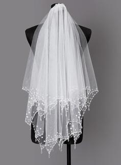 Dos capas Con abalorios Codo velos nupciales con La perla de faux (006203735)
