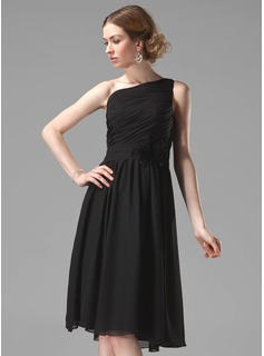 Bridesmaid Dresses A-Line/Princess One-Shoulder Knee-Length Chiffon Bridesmaid Dress With Ruffle Flower(s) (007004118)