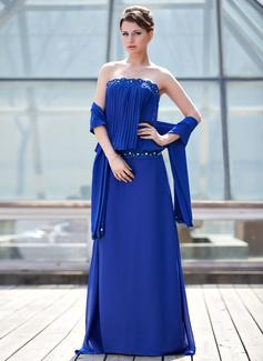 Etui-Linie Trägerlos Sweep/Pinsel zug Chiffon Kleid für die Brautmutter mit Spitze Perlen verziert Gefaltet (008018975)