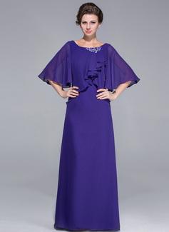 Etui-Linie U-Ausschnitt Bodenlang Chiffon Kleid für die Brautmutter mit Rüschen Perlen verziert Gestufte Rüschen (008025718)