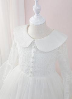 Duchesse-Linie/Princess Bodenlang Blumenmädchenkleid - Tüll/Spitze Lange Ärmel Peter Pan-Kragen mit Rüschen (010207220)