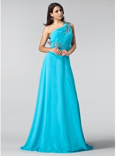 A-Line/Princess One-Shoulder Sweep Train Chiffon Evening Dress With Beading (017005215)