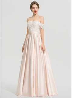 Duchesse-Linie/Princess Off-the-Schulter Bodenlang Satin Ballkleid mit Pailletten (018192345)