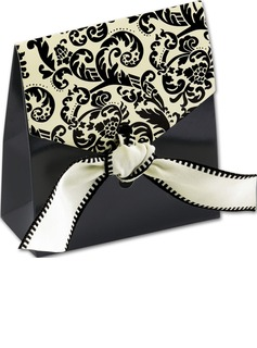 12pcs/set Damask Favor Bags with Ivory & Black Ribbon Wedding Decoration (050178818)