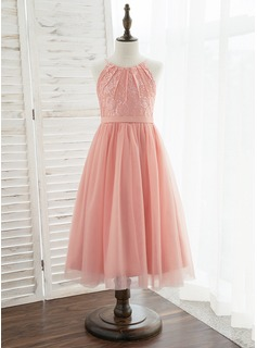 A-Line Tea-length Flower Girl Dress - Tulle/Lace Sleeveless Scoop Neck (010172372)
