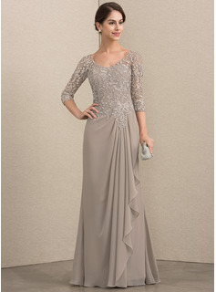 A-Line V-neck Floor-Length Chiffon Lace Mother of the Bride Dress With Beading (008164097)
