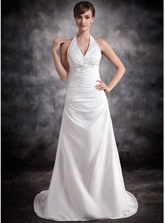 A-Line/Princess Halter Court Train Taffeta Wedding Dress With Ruffle Beading Appliques Lace (002016883)